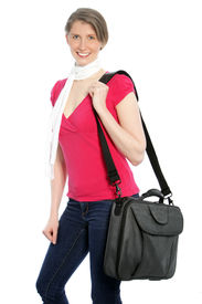 pic of sling bag  - Young attractive woman carrying a laptop shoulder bag smiling at the camera - JPG