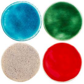 pic of raku  - Handmade glazed pottery circles isolated on white - JPG