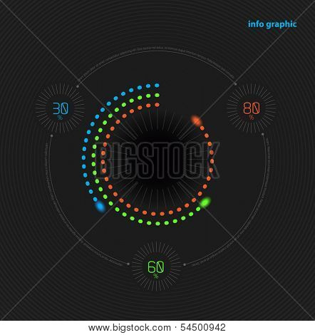 Vector circles with percentage for business presentations and reports.