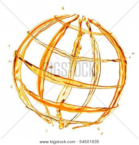 abstract globe from orange water splashes isolated on white