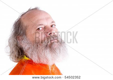 Long Grey Beard Senior Man Looking At You Tough