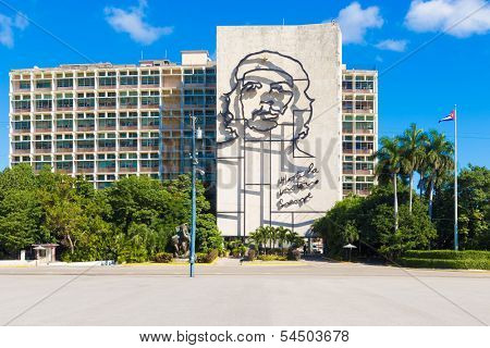 HAVANA-NOVEMBER 19:The Che Guevara Monument in the Revolution Square November 19,2013 in Havana,Cuba.This building with the iconic image of Che Guevara is photographed daily by hundreds of tourists