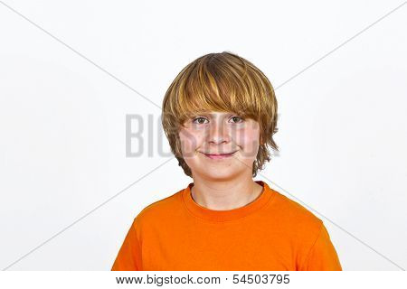 Cute Smiling Boy In Studio