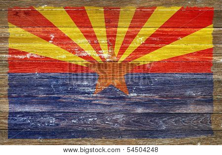 Arizona Flag On Wood