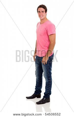side view of casual young man on white background