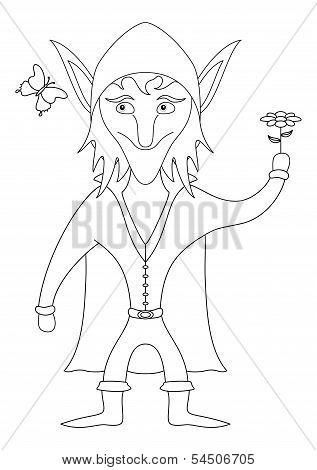 Elf with flower, outline