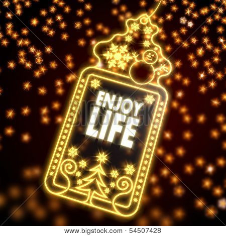 Noble Christmas Label With Enjoy Life Sticker