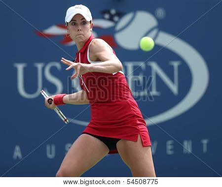Professional tennis player Alize Cornet during third round singles match at US Open 2013