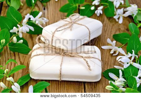 Soap White With Flowers Of Honeysuckle
