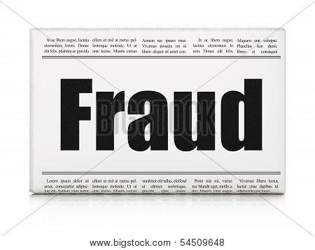 Protection concept: newspaper headline Fraud