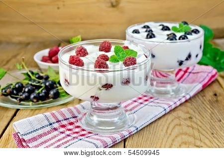 Yogurt Thick With Black Currant And Raspberry On The Board