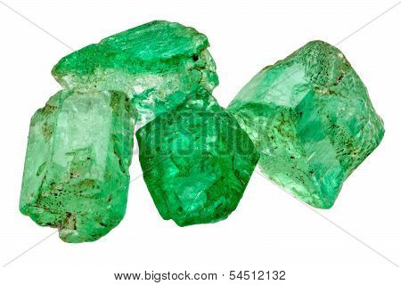 Four Raw Emerald Crystals