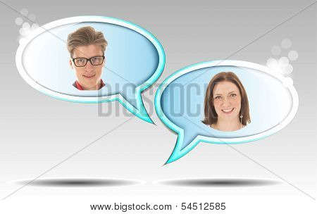 Young Man And Woman With Balloon Illustration