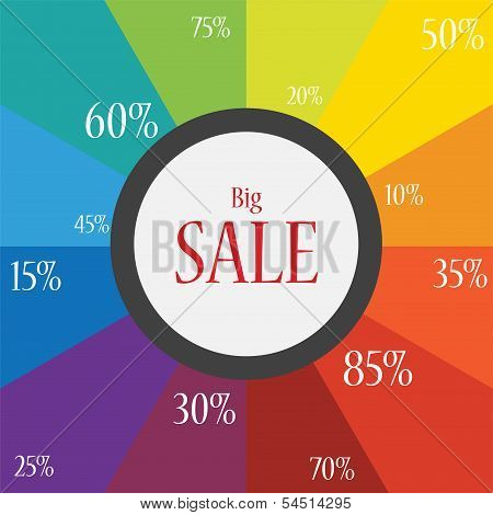 the word sale on a festive and colorful background