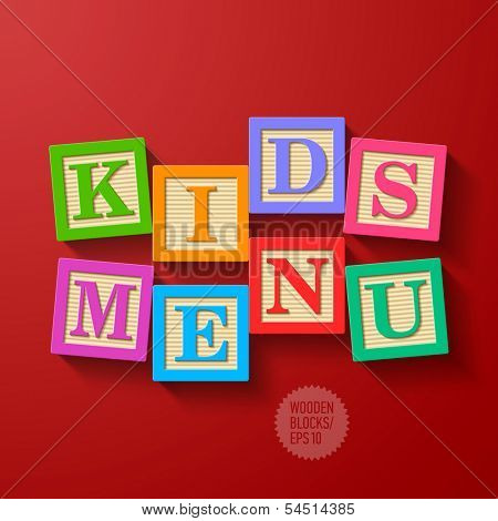 Kids Menu cover - wooden blocks. Vector.
