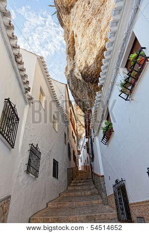 Wide view of street between the rocks in Setenil de las Bodegas