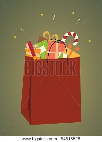 Shopping Bag Of Christmas Gifts