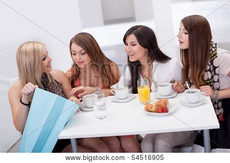 Women Friends Looking At Shopping