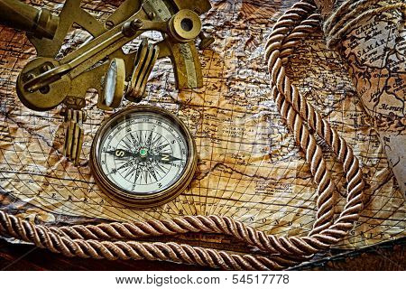 vintage  still life with compass,sextant and old map