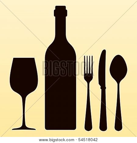 Wine Bottle and Cutlery