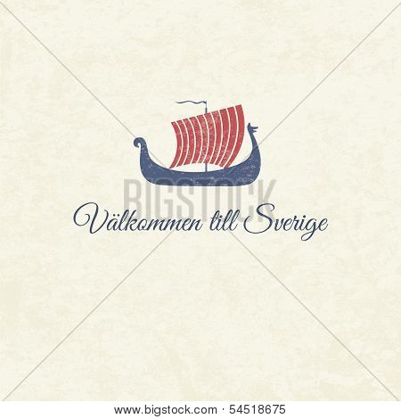 Welcome card with swedish viking boat