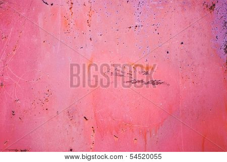 Old Cracked Painted Texture. Rusty Red Metal Surface