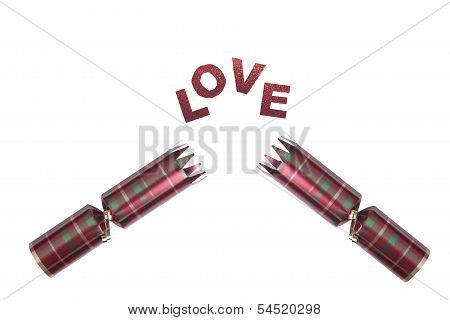 Isolated Christmas Cracker In Tartan Pattern With Love Text