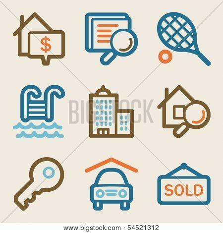 Real estate web icons, vintage series