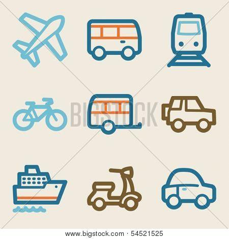 Transport web icons, vintage series