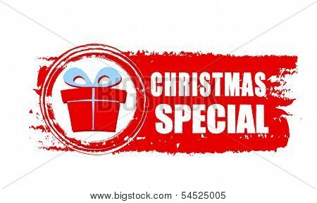 Christmas Special And Gift Box On Red Drawn Banner