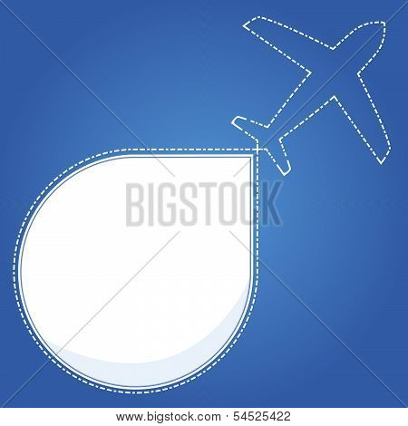 Blue background with airplane travel.