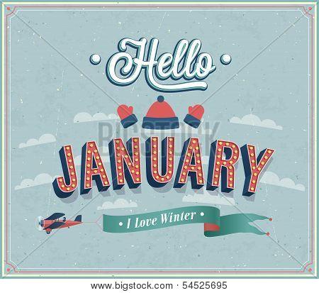 Hello January Typographic Design.