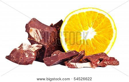 Heap Of Delicious Black Chocolate With Orange