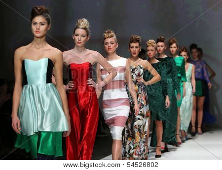 ZAGREB, CROATIA - NOVEMBER 23: Fashion models wearing clothes designed by Vjera Vilicnik on the Zagreb Fashion Week show on November 23, 2013 in Zagreb, Croatia.