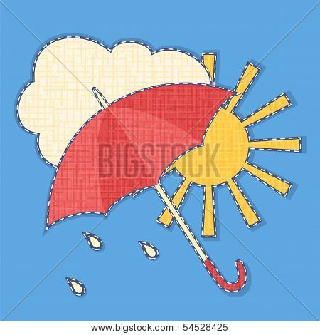 Vector icon of weather with fabric effect