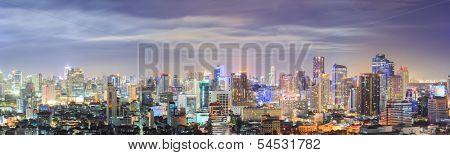 Panorama Aerial view of Bangkok downtown Skyline at night