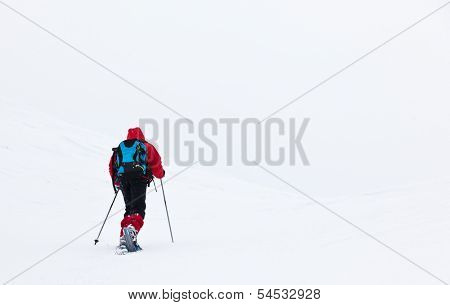 A young boy is walking through the snow in mountain with snowshoes and ski poles. Winter season, cloudy and cold day. Red jacket and blue backpack.