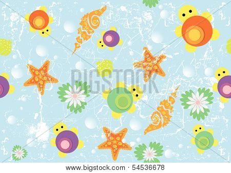Seamless Pattern Sea With Turtles