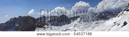 Panorama Of Snowy Mountains In Nice Sunny Day