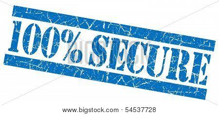 100% Secure Blue Grunge Stamp