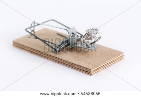 Diamond Ring Wedding Gift On Mouse Trap