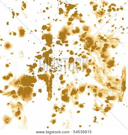 Brown Splashes And Streaks Of Ink On Paper