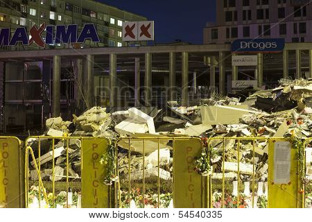 Fallen roof of Maxima supermarket in Riga, Latvia.