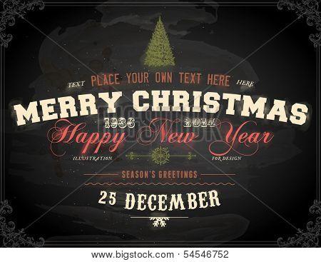 Vintage Christmas Card Design. Chalkboard texture. Chalk Design.