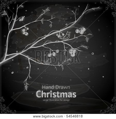 Christmas Tree with Berries and Birds, vector design. Chalkboard style. Chalk Texture.