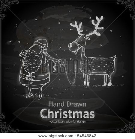Santa Claus with Deer. Chalkboard texture. Chalk Design.