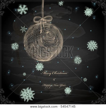 Christmas Hand Drawn Ball with Snowflakes for Xmas design. Chalkboard texture. Chalk Design.