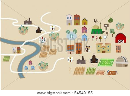 Map set collection flat. Vector illustration