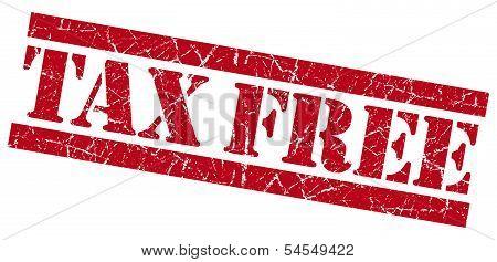 Tax Free Red Grunge Stamp