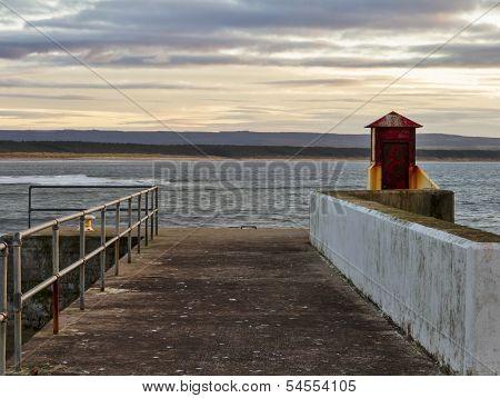 Burghead, walking the pier plank.